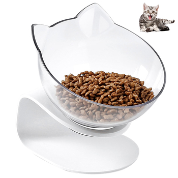 Petacc Pet Bowl Anti-slip Cat Dish Tilted Pet Feeder with Slope Base Suitable for Most Cats White and Transparent