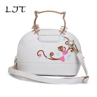 LJT 2017 New Female Shells Messenger Bag Personalized Embroidery Handbag Mini Cat Shape Cute Tote Shoulder