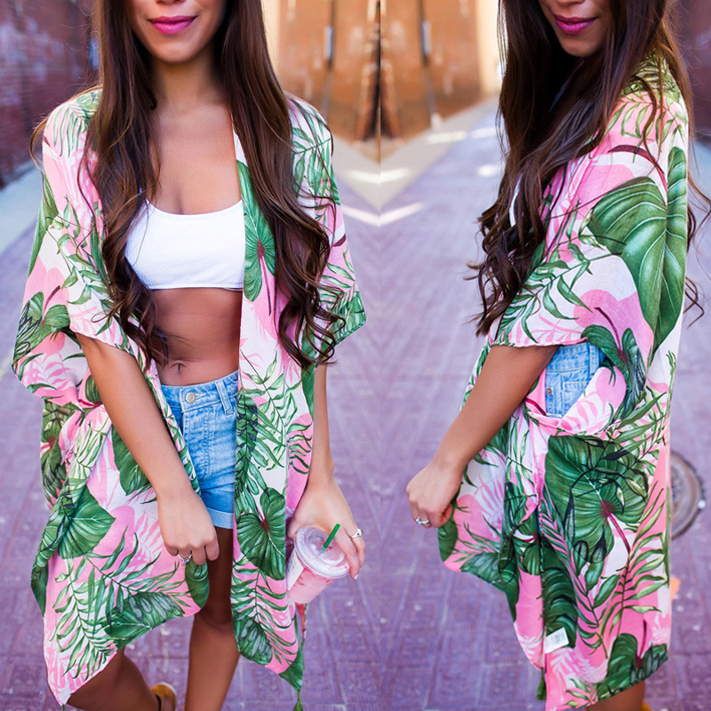 2018 New Women Summer Bikini Cover Up Floral Chiffon Batwing Sleeve Bathing Suit Swimwear Beach Cover-up Blouses Sundress