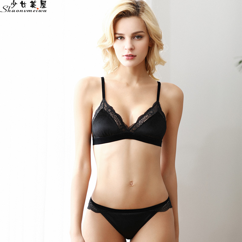 shaonvmeiwu Winter French sexy lace lingerie without rims ultra-thin non-sponge bra set thermal