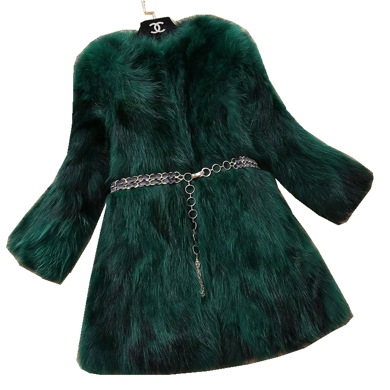 Lady Real Raccoon Fur Coat Jacket Autumn Winter Genuine Women Fur Warm Outerwear Coats LF4295