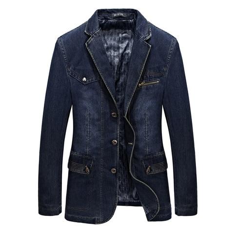 Fashion Jeans Blazers Men Business Casual Slim fit Suits Jacket hombre Cotton Multi-pocket Denim Blazer masculino Size L-3XL Lahore