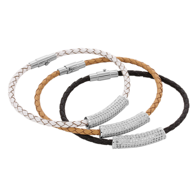 2018 Fashion Curved Tube Zircon Charms Braided Rope Leather Bracelets Bangles Wristband Magnetic Clasp Women Men Jewelry F5281