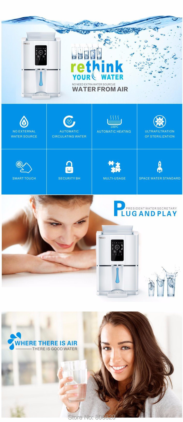 Home 20LD Pure Atmospheric Air to Water Treatment Dispenser Generator with Intelligent RO Filter & NFC Code-Scanning Match Tech_Description