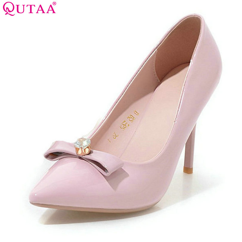 QUTAA Pink Elegant Women Pumps Thin High Heel Bow Tie Pointed Toe Platform Summer PU leather Ladies Wedding Shoes Size 34-39 qutaa 2017 ladies summer shoes pointed toe heel woman flat shoes genuine leather bow tie black women ballet flats size 34 39