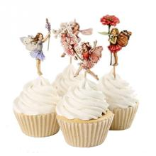 New Design 48pcs Flower Fairy Cupcake Toppers Picks for Birthday Decorations New Year Easter Halloween Party Cake Decoration