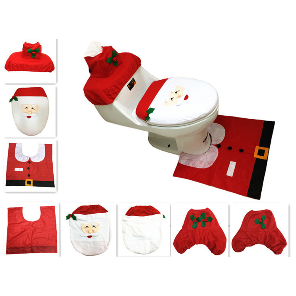 New XMAS Santa Toilet Rug Bathroom Mat Set Christmas