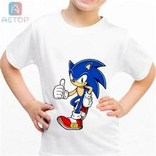 NEW sonic lww01 Kingdom Funny T-shirt Kids Baby Summer Cute Clothes Boys Girls Tops sonic T shirt(China)