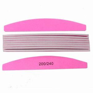 Высококачественная розовая пилка для ногтей 10X200 240 Srong Lima Buffer, акриловые пилочки для маникюра и педикюра, полулунная пилочка для ногтей из пе...