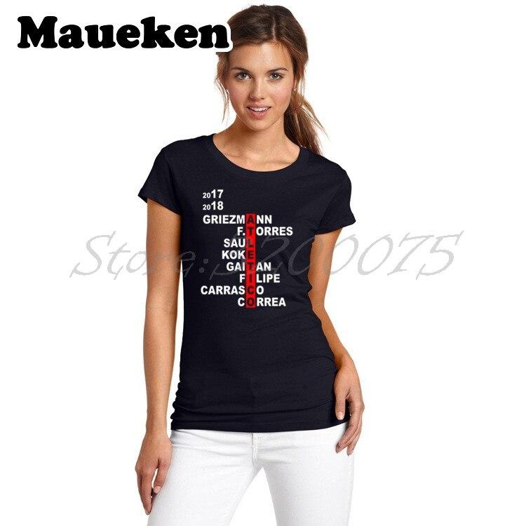 Women 2017/18 Squad Crossword Griezmann Atletico Koke Saul F.Torres Carrasco Correa T-shirt Madrid Lady T Shirt Girl W17060613