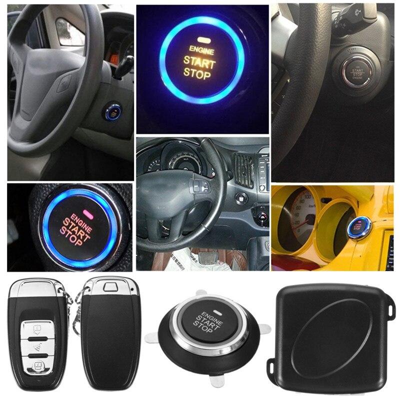 9Pc bricolage voiture SUV sans clé entrée moteur démarrage sans clé système d'alarme bouton poussoir démarreur à distance arrêt Automobiles Auto voiture accessoires - 5