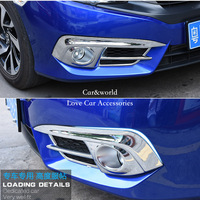 For 2016 Honda Civic 2017 Front Fog Lights Lamp Cover Trim FogLight Frame ABS Chrome Stickers Car Covers Car Styling Accessories
