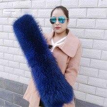 Большой размер роскошный настоящий высококачественный натуральный енот цветной меховой шарф L11