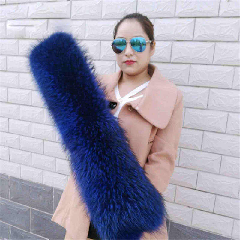 Tamanho grande luxo real authentic alta qualidade 100% cor natural raccoon fur scarf L11