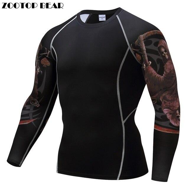 Camisetas de compresión para hombre Bodybuilding MMA Crossfit ejercicio  entrenamiento Fitness ropa deportiva masculina medias camisetas 6f9e24289dd08