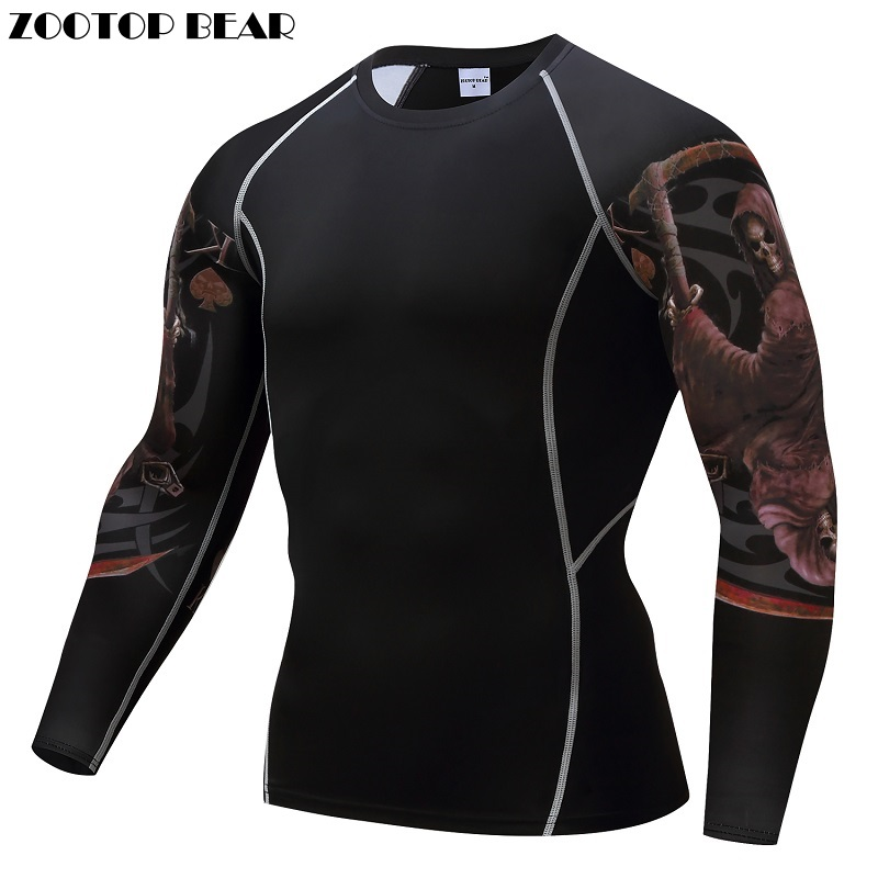 Compression shirts Mens Tops Bodybuilding MMA Crossfit Exercise Workout Fitness Sportswear Male Tights T-shirts ZOOTOP BEAR