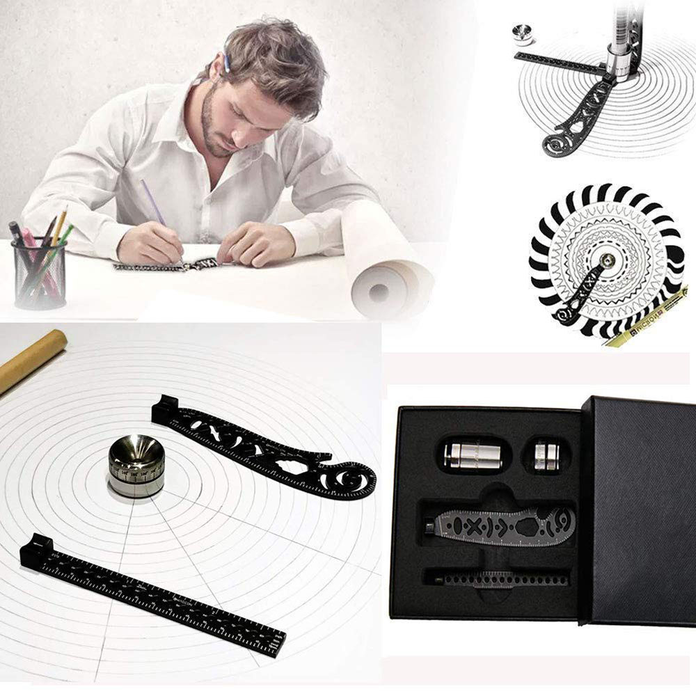 Magcon Tool Design Drawing Curved Metallic Ruler Mini Compass Protractor Combo-Circles Drawing Patterns