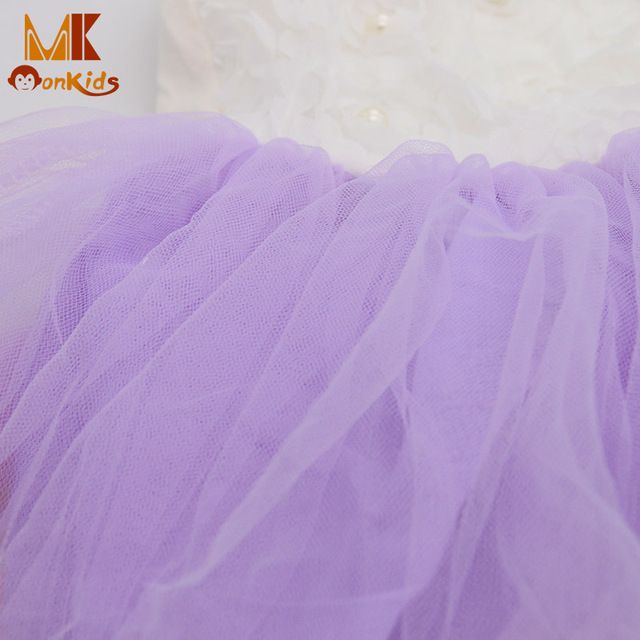 MK 2017 Summer Girls Dresses Lace Flower Blooms Bowknot Tulle Kids Baby Girl Dress Children Girls Clothing Free Shipping D8941