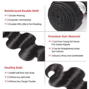 Image 5 - 実体波バンドルブラジル髪織りバンドルとともに 1 閉鎖人間のバージン毛束延長 1/3/4 個dolago髪製品
