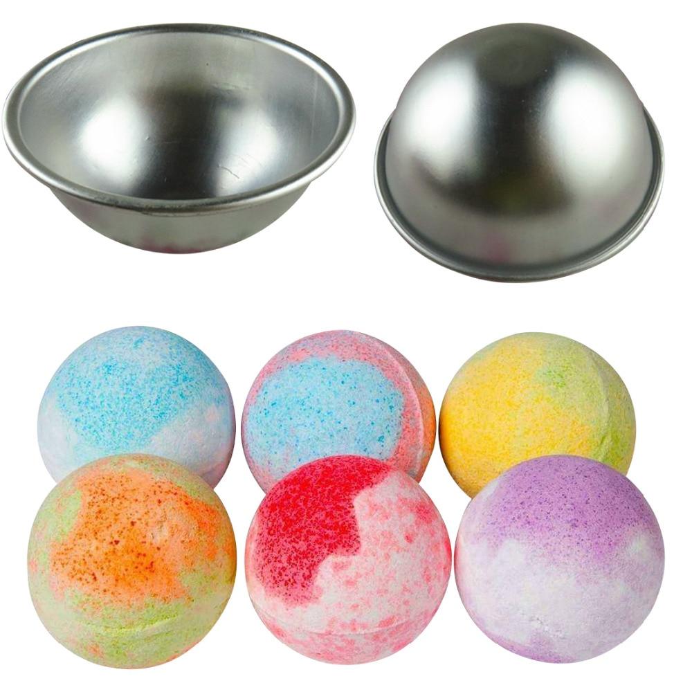 DIY Spa Tool Accessories 1PC 5.5*2.5cm Mini Aluminum Alloy Shallow Semicircle Bath Bomb Salt Ball Metal Mold 3D Sphere Shape