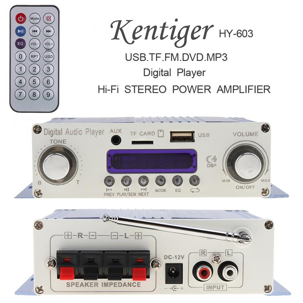 HI-FI Sound Digital Audio Player Car Amplifier FM Radio Stereo Player Support SD / USB / DVD / MP3 Input with Remote Control
