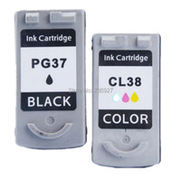 One Set PG37 PG 37 CL 38 PG 37 CL 38 Remanufactured Ink Cartridge For Canon Pixma iP1800 Pixma iP2500 Pixma MP210 printer