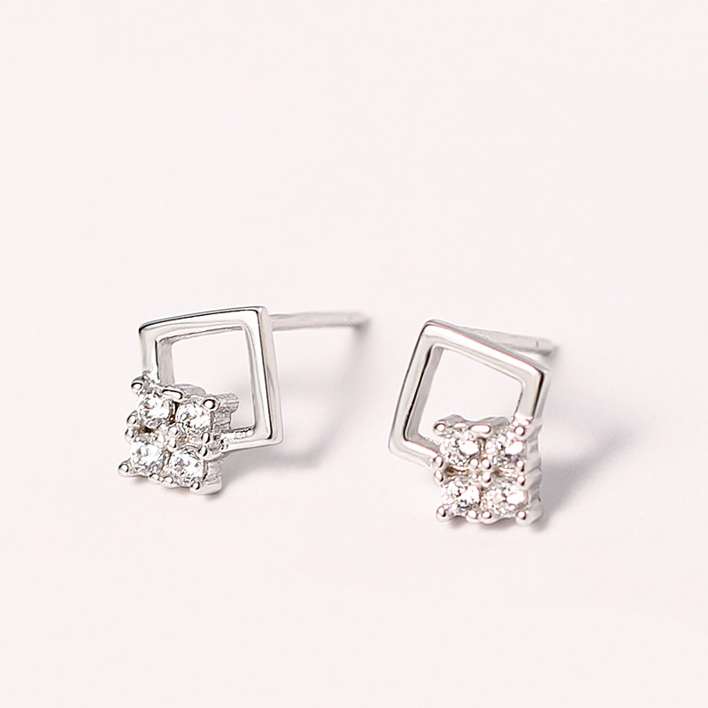 925 Sterling Silver Jewelry Square Zircon Stud Earrings For Women 2018 Gold Color Korean ...