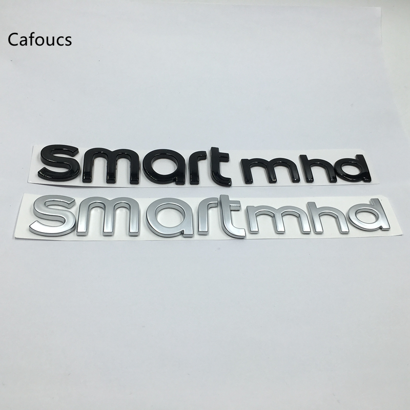 Cafoucs For Mercedes Benz Smart mhd Emblem Logo Rear Trunk Side Letters Badge Sticker chrome c180 letters for c 180 c class trunk emblem badge sticker