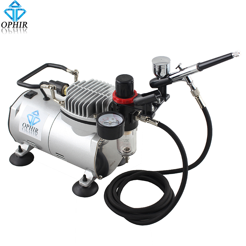 OPHIR Dual-Action Airbrush Kit with 110V 220V Air Compressor Filter Holder for Body Paint Airbrushing Hobby Makeup Set_AC089+004 ophir 0 3mm airbrush kit with mini air compressor single action airbrush gun for cake decorating nail art cosmetics ac002 ac007
