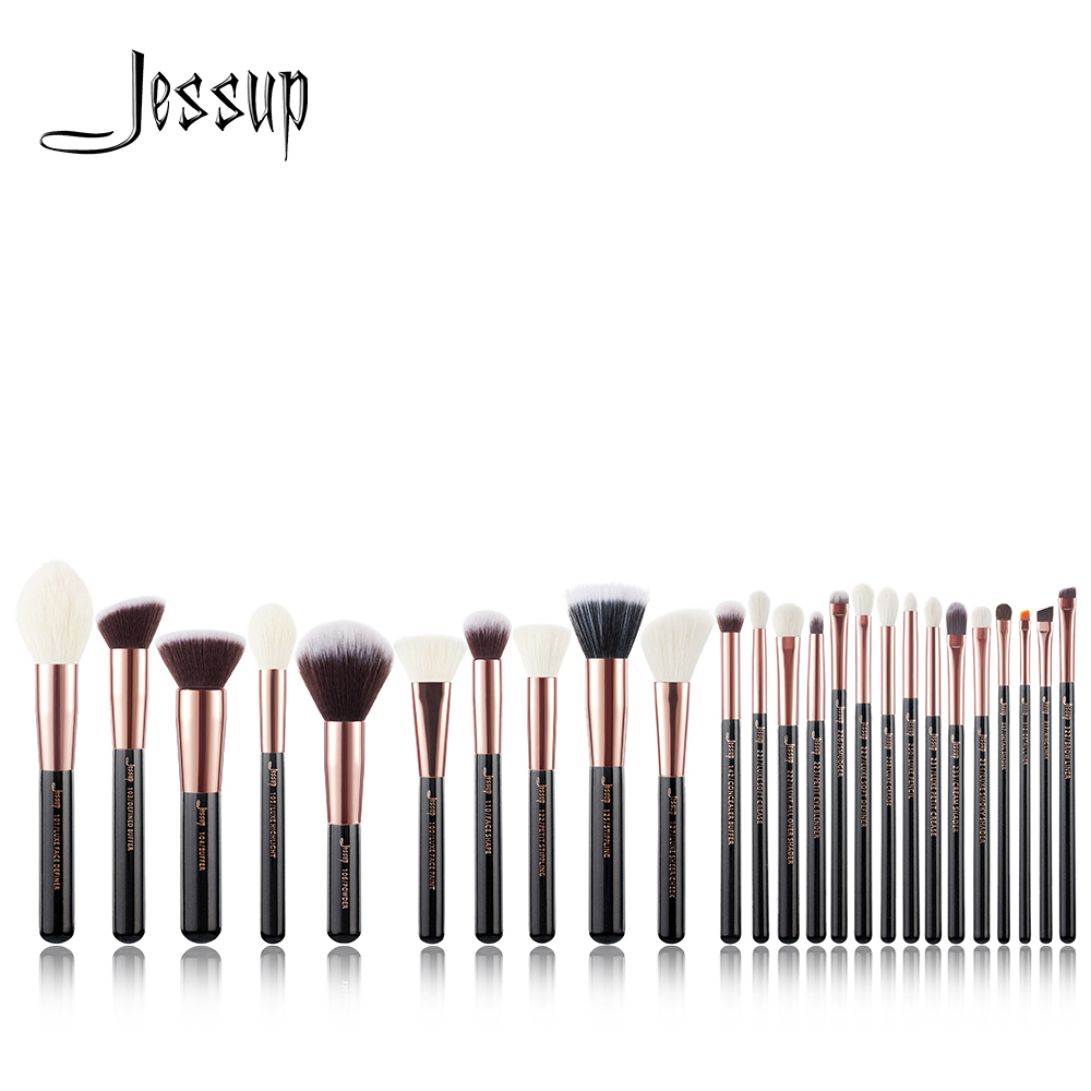 Jessup set Rose Gold /Black Professional Makeup Brushes Set Make up Brush Tools Foundation Powder Blushes natural synthetic hair-in Eye Shadow Applicator from Beauty & Health    1