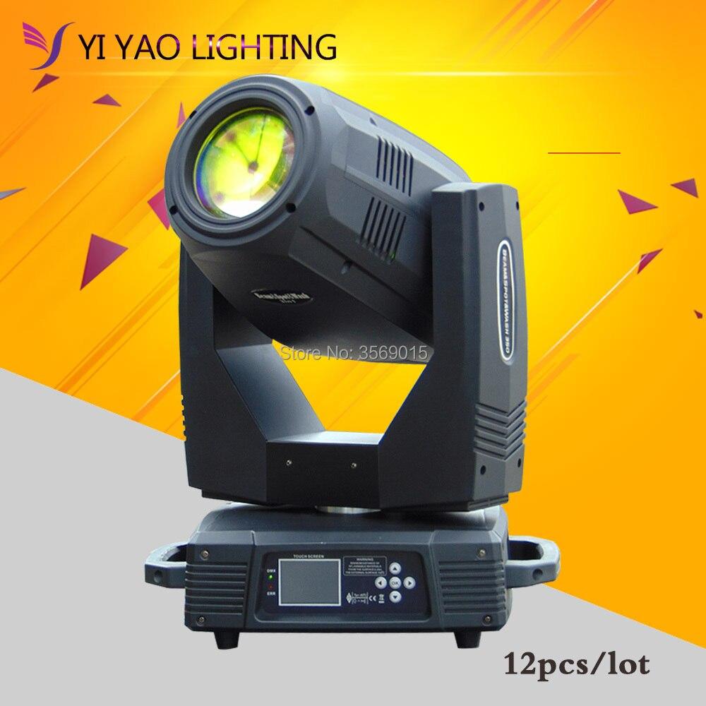 12 unids/lote etapa alta calidad 350 W lámpara luz de la etapa del haz DMX512 pantalla táctil luz principal móvil dj club