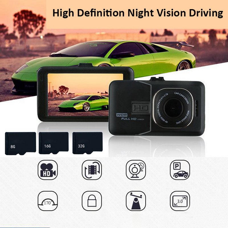 TOSPRA 3/3.2 Inch Full HD 1080P Camera Recorder Car Cam Dual Dash Cam Black Parking Monitoring Car DVR Camera