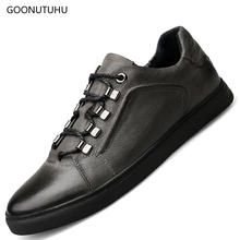 2019 Men's shoes casual breathable big size 36-46 fashion shoe black & gray man shoes cow leather genuine platform shoes for men high quality mens basic shoe 2017 fashion for men casual shoes breathable genuine cow leather man elastic man brand shoes