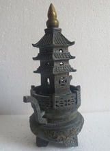 10.5 inch High Collectible chinese old bronze Carved dragon Feng Shui Tower incense burner   free ship