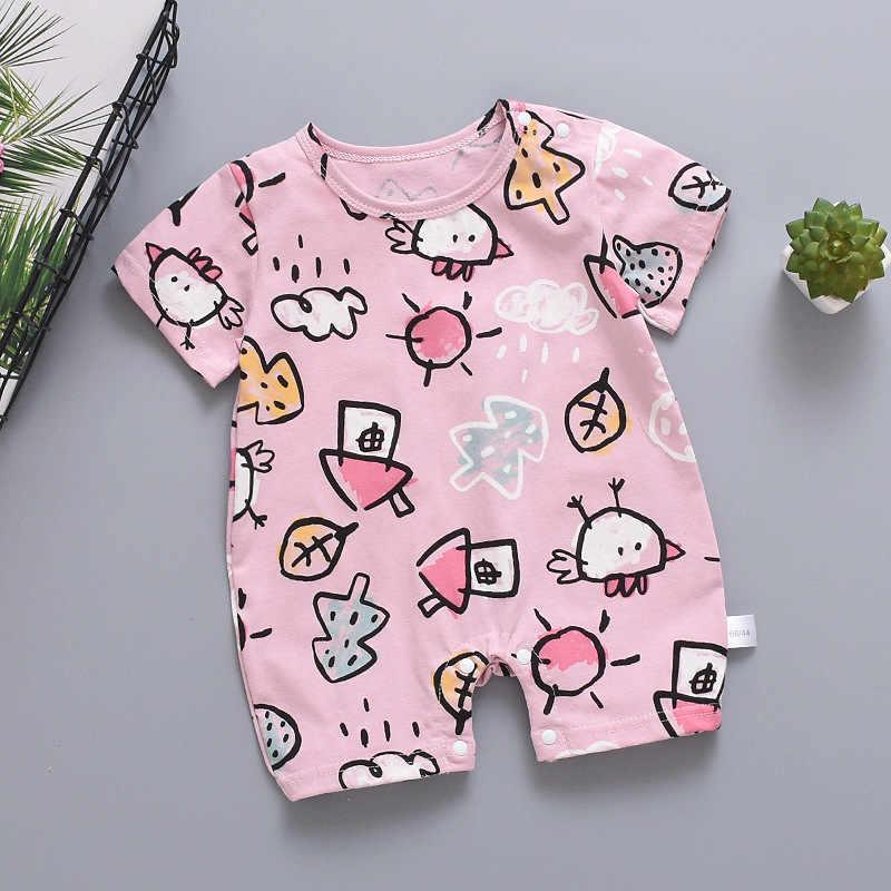 Летний комбинезон для новорожденных мальчиков; хлопковый комбинезон с короткими рукавами для младенцев; комбинезон с рисунком для маленьких девочек; Одежда для новорожденных
