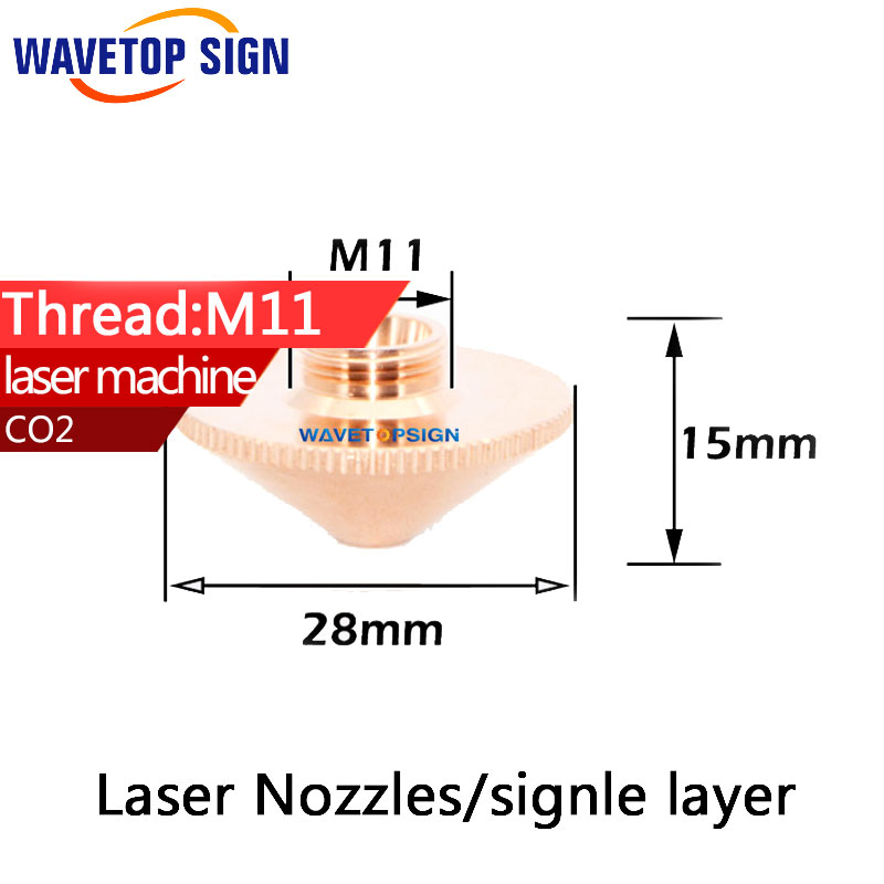 Laser Nozzles Single Layer Caliber 1.0 1.2  1.5  2.0 3.0 4.0 For Precitec Fiber Laser Cutting Head Welding Machine  laser precitec laser ceramic kt b2 con p0571 1051 00001 for precitec laser cutting head 32mm 28 5mm free shipping