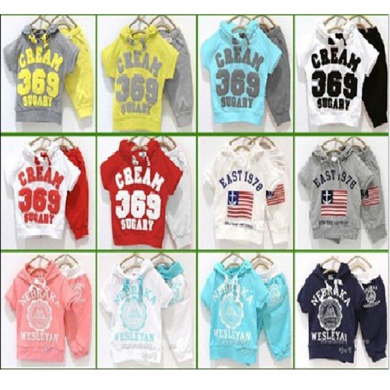 Boys Sport Suits Kids Tracksuits Summer Children Clothes Set Hooded Jacket Shorts Harem Pant 2 3 4 years Girls Clothing Set