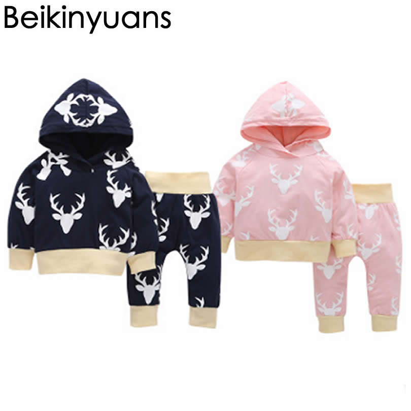Baby Infant Clothes elk Hooded Jacket+Trousers Suit Cartoon Soft Cotton Baby Boys Girls  ...