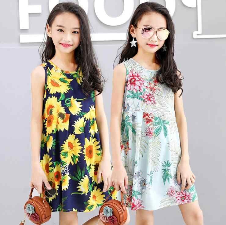 4b1b96daa8936 Summer Girls Dress Cotton Bohemian Floral Tunic Beach Dress children ...