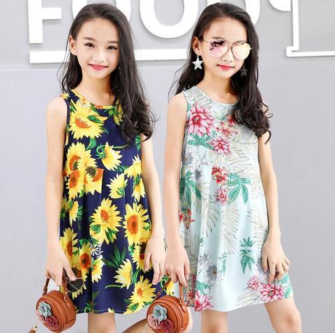 meninas de verao vestido de algodao floral boemio praia tunica vestido das criancas das criancas