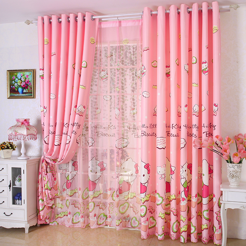 Zhh 2 panels curtain love cat printed curtain for kids - Childrens bedroom blackout curtains ...