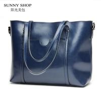 SUNNY SHOP 2017 New Genuine Leather Women Messenger Bags Fashion Luxury Handbags Women Bags Designer With