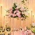 Hohe Qualität Hochzeit Anordnung Schießen Requisiten Künstliche Blume Blume Reihe T Bühne Hochzeit Zeremonie Bögen Blume Dekoration