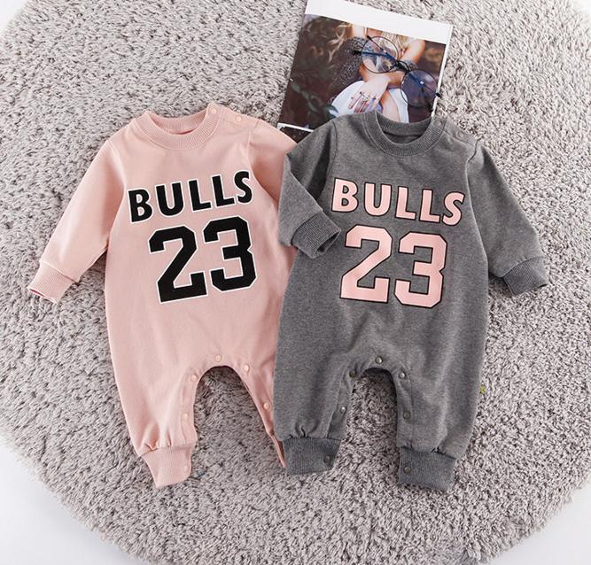 detailed look fed38 94953 Children Basketball Costume Chicago Number 23 Jersey Clothes Long Sleeve  Rompers Sport Sweaters Outfit Bebe Jumpsuit Overalls