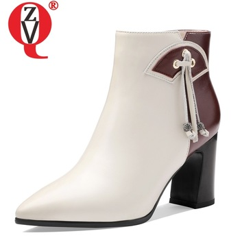 ZVQ woman shoes 2019 winter new fashion sexy mixed colors genuine leather pointed toe ankle boots outside high heels zip shoes