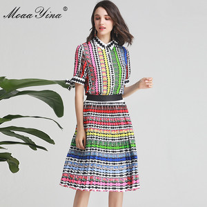 Image 3 - MoaaYina Fashion Designer Set Spring Summer Women Bow Short sleeve Stripe Print Indie Folk Shirt Tops+Skirt Two piece suit