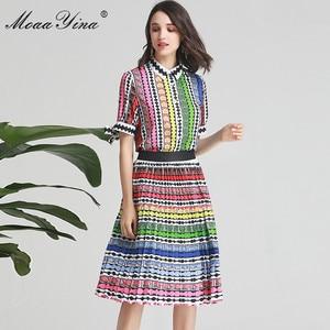 Image 3 - MoaaYina ensemble de créateurs de mode printemps été femmes arc à manches courtes rayure imprimé Indie Folk chemise hauts + jupe deux pièces costume