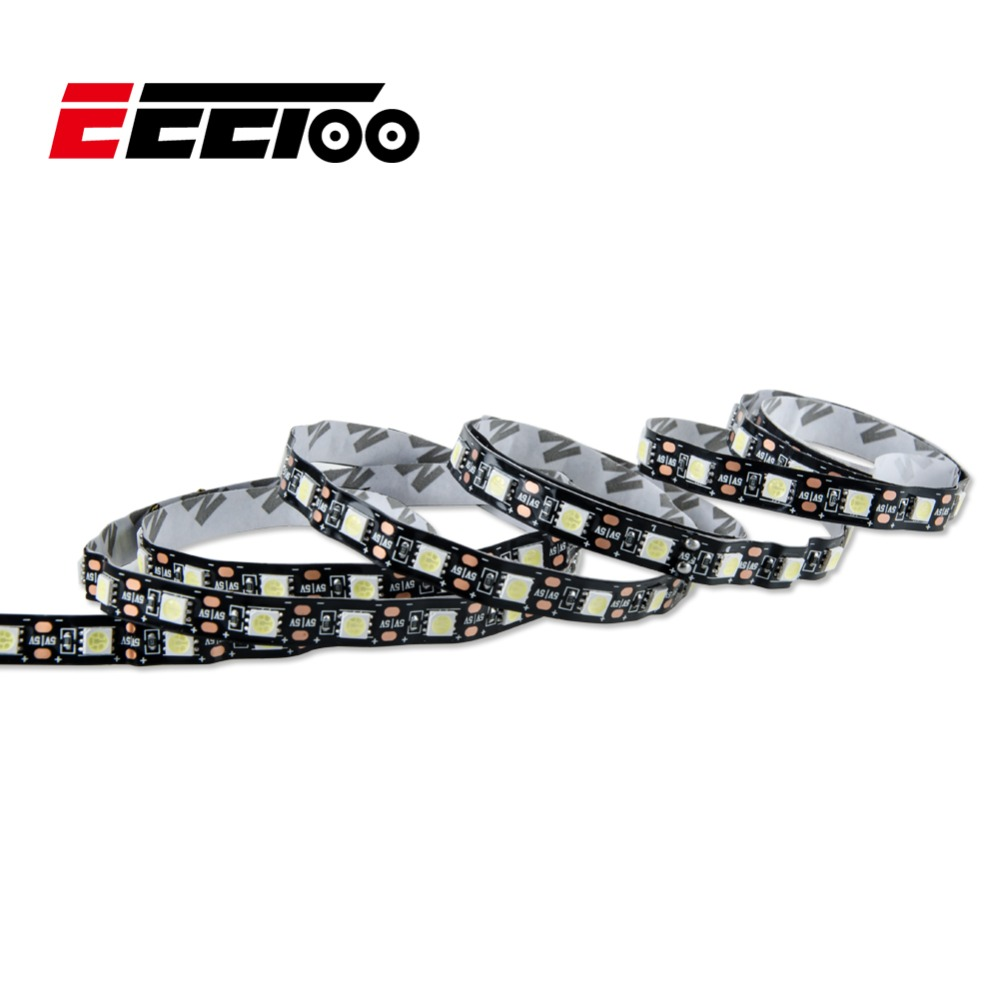 EeeToo Led Strip Lights USB DC 5V SMD 5050 50cm 1m 2m 3m 4m 5m Black PCB LED Tape For Wardrobe Cabinet PC TV Backgroung lighting