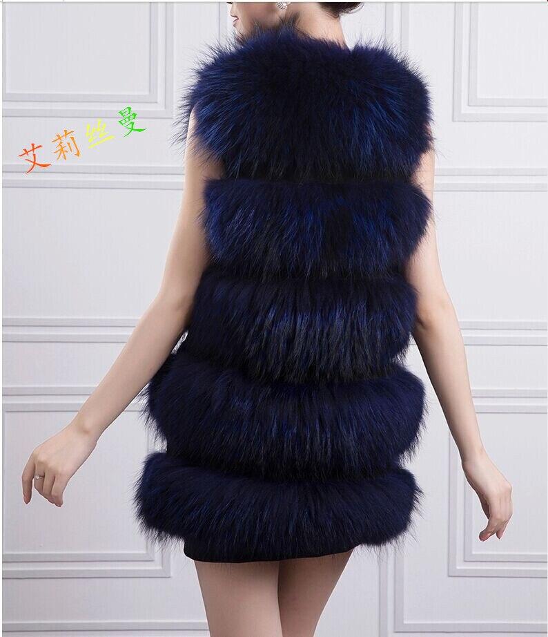 Cuir reccoon Filles Beige Longue Rond Ecru blue Col Pleine De Raton black Fourrure En Fur Section Nouveau Laveur 2016 Gilet Fwq7xFZ
