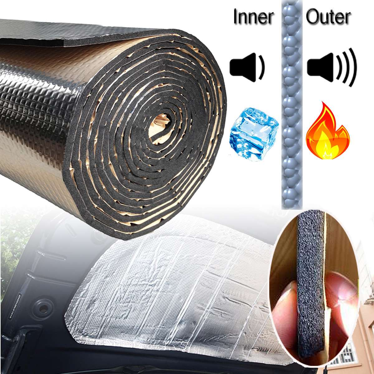140x100cm 15 Sqft Car Sound Deadener Mat Noise Bonnet Insulation Deadening Hood Engine Firewall Heat Aluminum Foam Sticker